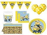 XXL Party Set Minions Kindergeburtstag 44 teilig für Mädchen Junge Party Deko Set Dave Stuart