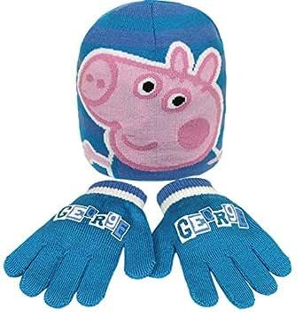 PEPPA PIG - Ensemble hiver bonnet + gants jersey bleus