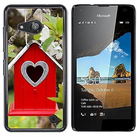 NOKIA Lumia 550 , Cassa Cover Guscio Di Plastica (Albero Fiori ramo Birdhouse Parallax)