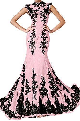 ivyd ressing Femme élégant motif dentelle Mermaid longue mousseline Lave-vaisselle robe robe du soir Rose - Rose