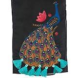 Chumbak Peacock Tassels Rectangular Scarf