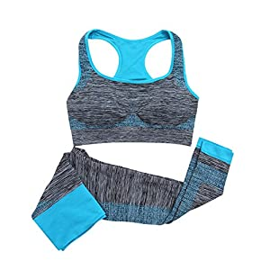 Balai Women Yoga Fitness Seamless Bra+Pants Leggings Set Gym Workout Sports Wear
