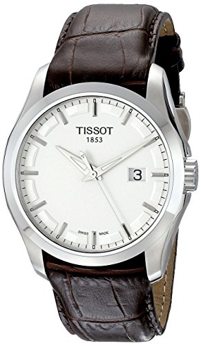 Tissot T0354101603100 - Reloj analógico de caballero de cuarzo con correa de piel marrón