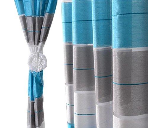 Halbtransparent Ösenvorhang Ösenschal Schal Dekoschal für Fenster Dekorative Gardine Farben Streifen 2er Set Vorhänge mit Ösen 145x245 cm AGV (V14) (Dekorative Fenster-schal)