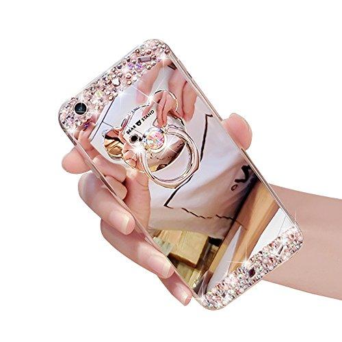 Custodia iphone 6, Sunroyal® Creativo Brillante Specchio iphone 6s Case Cover con Built-in Orso Rotazione Grip Ring Supporto Dellanello Morbida Transparente in Silicone TPU Shock-Absorption Bumper Mi Strass 07