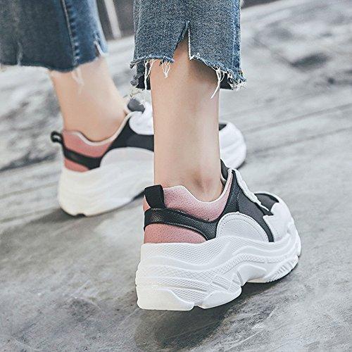 LIANGJUN Fond Épais Baskets Chaussures De Femme Printemps Sports De Plein Air, 5 Tailles, 2 Couleurs Disponibles ( Couleur : Rose , taille : EU38=UK5.5=L:240mm )