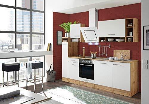respekta Küchenzeile Küche Küchenblock Einbauküche Komplettküche 250 cm Wildeiche weiß inkl. Geräte