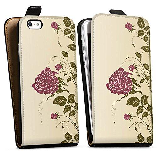 Apple iPhone X Silikon Hülle Case Schutzhülle Rosen Blumenranken Blätter Downflip Tasche schwarz