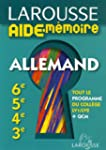 Larousse Aide-M�moire Allemand 6e-5e-...