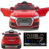 SIMRON - AUDI Audi Q7 Quattro SUV Elektro Kinderauto Kinderfahrzeug Ride-on 12V Kinder Elektroauto -Rot-