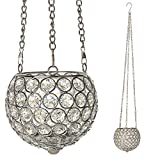 VINCIGANT Silber dekorative Kristall hängende Kerzehalter Teelichthalter für Hochzeit Tisch Centerpieces/Weihnachten Deko 12cm Dia.