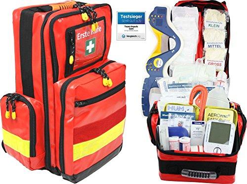 Erste Hilfe Notfallrucksack Betriebssanitäter mit autom. Blutdruckmessgerät & Stethoskop Plane mit gelben Reflexstreifen von Team Impuls