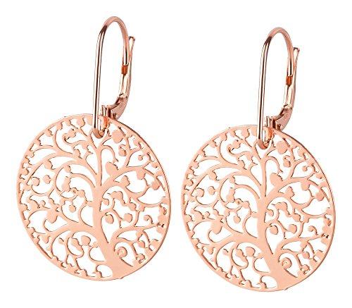 Filigrana, molto leggeri orecchini in argento placcato in acciaio INOX placcato, Argento, colore: Lebensbaum, cod. 32682