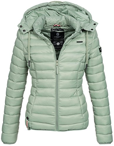 Marikoo Damen Jacke Steppjacke Übergangsjacke gesteppt Frühjahr Camouflage B619 [B619-Ein-Hellgrün-Gr.L]