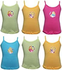 Bodycare Girls Coloured Vest (Barbie Print) (Pack of 6, Assorted Colours)