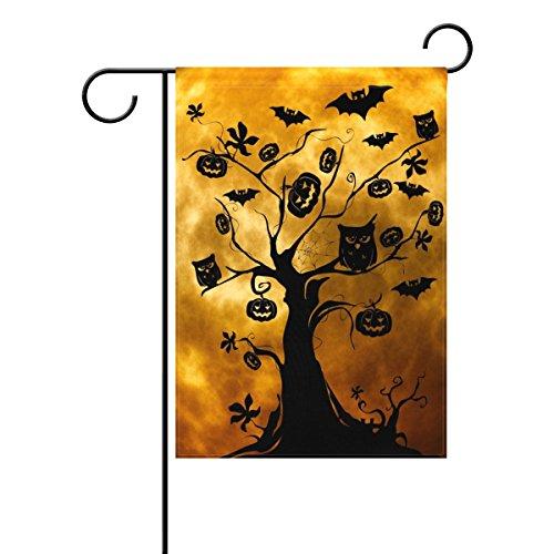 Tizorax zucche di halloween moonight jack lantern gufi pipistrelli ragnatela on tree garden flag double sized stampa decorativa casa vacanza bandiera, 30,5x 45,7cm, poliestere, multicoloured, large-28x40-inch