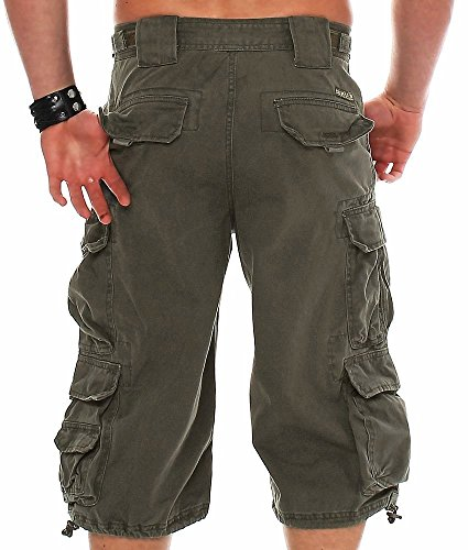 Jet Lag Herren Shorts 007 3/4-lang, Cargoshorts Olive