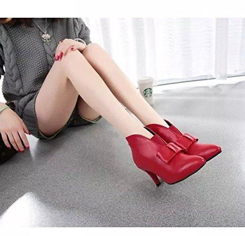 Planalto Senhoras Partido Nó Bombas Salto Gaorui Alto Tornozelo Sapato Arco Botas Preto Com Vermelho YddCqa