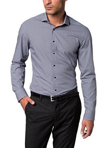 ETERNA long sleeve Shirt SLIM FIT Poplin printed Blu