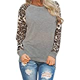 Save 45%~Clearance !!! YANG YI,Women's Casual Round Neck Long Sleeves Tops T-Shirts Leopard Blouse