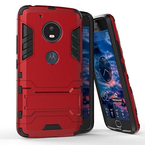 Für Moto G5 Dual Layer Case Cover, 2 In 1 Hybrid Rüstung Schützende harte Rückenabdeckung Stoßfeste Anti-Kratzer Stoßabsorption mit Builtin Stand ( Color : Gold ) Red