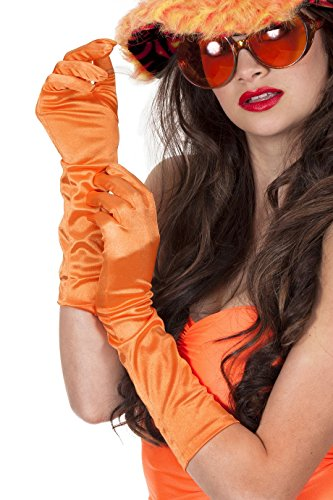Jannes 52114 Deluxe Gala Satin Handschuhe 40 cm. Orange