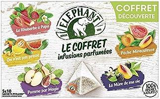 Elephant Coffret Infusion Parfumées Assortiment de 5 Variétés aux Arômes Naturels 50 Sachets (Lot de 5x10 Sachets)