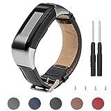 Keweni Für Garmin Vivosmart HR Armband, Ersatz Lederband Armband Zubehör für Garmin Vivosmart HR (Schwarz)