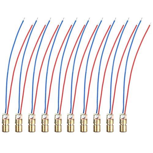 Naisicatar Kupferkabel Laser Head Diode Laser Kupfer kabelgebunden Kupfermodul Roter Kupferrohr, 5 MW, 650 NM, 6 mm Diode Module für Arduino Raspberry Pi Prototypage X 10