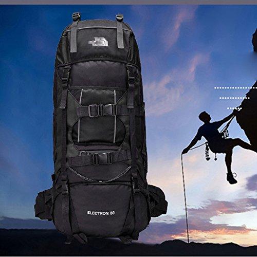 80 l im Freien Reiserucksack Lasten Schulterbeutelhalter professionelle Bergsteigen Taschen Reisetaschen Schwarz