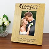 I Love You To The Moon And Back Personalised Oak Veneer Finish 6x4 Photo Frame Personalised by GiftRush