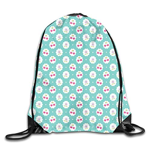 GONIESA Fashion New Drawstring Backpacks Bags Daypacks,Dotted Background with Cherry and Flowers Abstract Flora Motif,5 Liter Capacity Adjustable for Sport Gym Traveling - Cherry Flower Stand