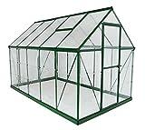 Palram Aluminium Gewächshaus Gartenhaus Hybrid 6x10 Grün // 310x185x209 cm (LxBxH); Treibhaus & Tomatenhaus zur Aufzucht