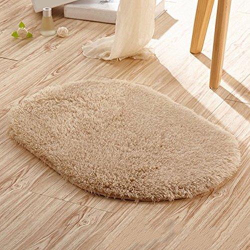 Traditionelle Ovale Teppich (San Bodhi® Anti-Rutsch-Teppich, oval, saugfähig, für das Bade- oder Schlafzimmer, khaki, 40 x 60cm)