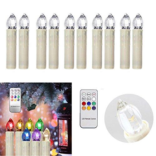 HENGDA® 10stk.LED Weihnachtskerzen Lichterkette Christbaumschmuck Party IR Kabellos Set Fernbedienung