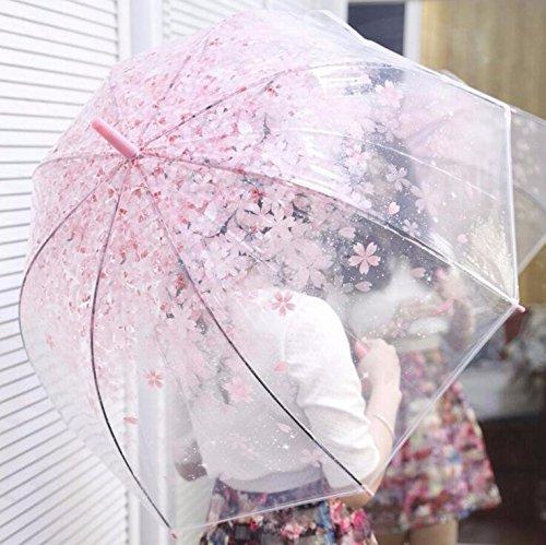 Bazaar Neuer Art und Weisekirsch Regenschirm transparenter freier Kirschblüten Pilz Regen Gang