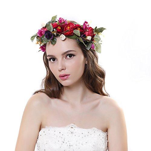 Ever Fairy® Blumenkrone Stirnband mit verstellbarem Band für Frauen oder Mädchen