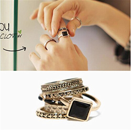 Kostüm Mashup - 6 Stück Mode Vintage Ringe Set Schwarz Persönlichkeit Mashup Ring gesetzt Legierung Edelstein Diamant-Ring