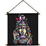 TYYC Diwali Gift Items, Mosaic Lord Shiva Wall Paintings, Hangings Canvas Scroll Poster For Home Decor - 12x12 Inches