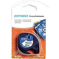 Dymo S0721660 Etikettenband (LetraTag-Etikettiergeräte, Kunststoff, 12 mm, 4-Meter-Rolle) schwarz auf weiß