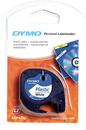 dymo-s0721660-letratag-plastic-tape-self-adhesive-12-mm-x-4-m-roll-black-print-on-white