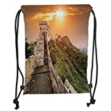 Drawstring Backpacks Bags,Great Wall of China,The Magnificent Heritage of World Background Brick Borders Picture,Orange Green Soft Satin,5 Liter Capacity,Adjustable String Closure,