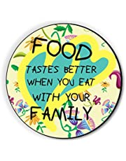 Fridge Magnet Food Tastes Better with Family by Seven Rays, Dimensions - 3 X 3 Inches, Round