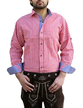 Trachtenhemd für trachten lederhosen wiesn freizeit Hemd rot-blau-kariert