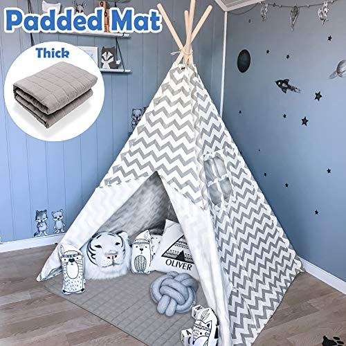 Tiny Land Tipi Spielzelt für Kinder Kinderzimmer mit Gepolsterter Decke- Drinnen Baumwolle Segeltuch Kinderzelt Indianerzelt (Grauer Chevron 165cm Hoch )