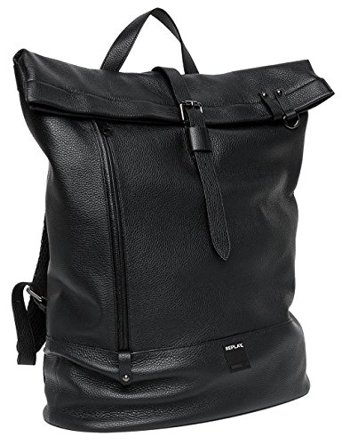 Replay Men's Men's Leather Black Backpack 100% Leather Noir (Black)