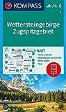 KOMPASS Wanderkarte Wettersteingebirge, Zugspitzgebiet: 4in1 Wanderkarte 1:50000 mit Aktiv Guide und Detailkarten inklusive Karte zur offline ... 1:50 000 (KOMPASS-Wanderkarten, Band 5)