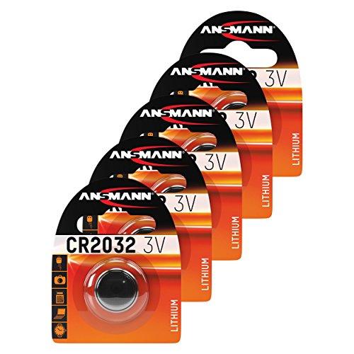ANSMANN 5 x piles bouton CR2032 Lithium 3V / Batteries lithium de haute qualité / Idéales pour les clés de voiture, les appareils TAN, les calculatrices, les jouets, les télécommandes, les montres etc.