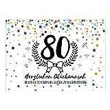 Große XXL Design Glückwunsch-Karte zum 80. Geburtstag mit Umschlag/DIN A4/Konfetti mit Jubiläumskranz/Schnaps-Zahl/Grußkarte