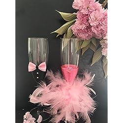 Copas novios boda color rosa